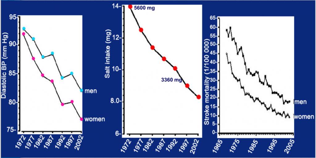 Динамика изменения диастолического артериального давления (ДАТ), потребления соли и количества инсультов